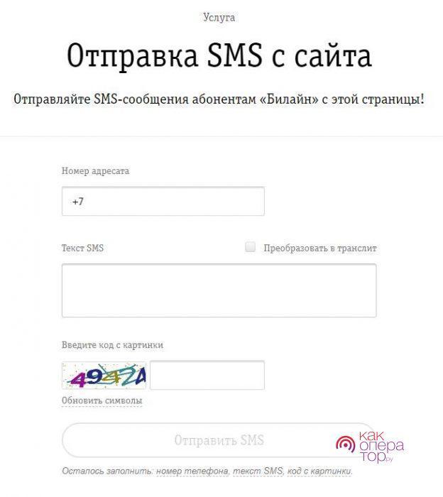 Условия отправки СМС с официального сайта