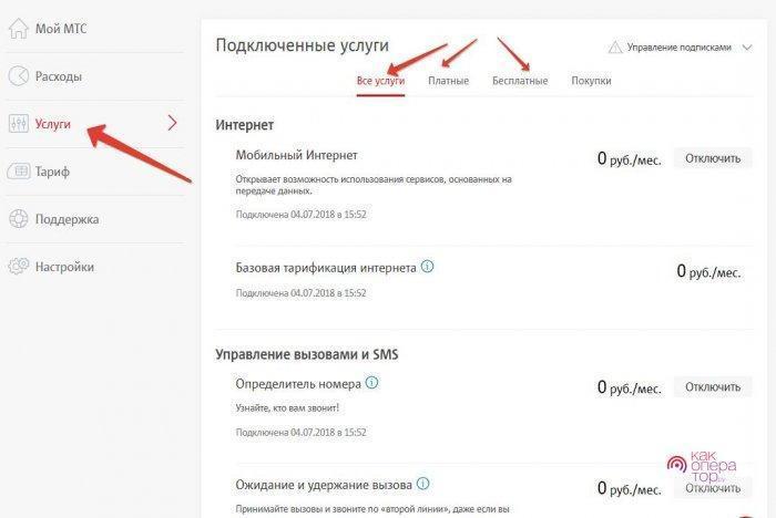 как узнать какие услуги подключены мтс россия