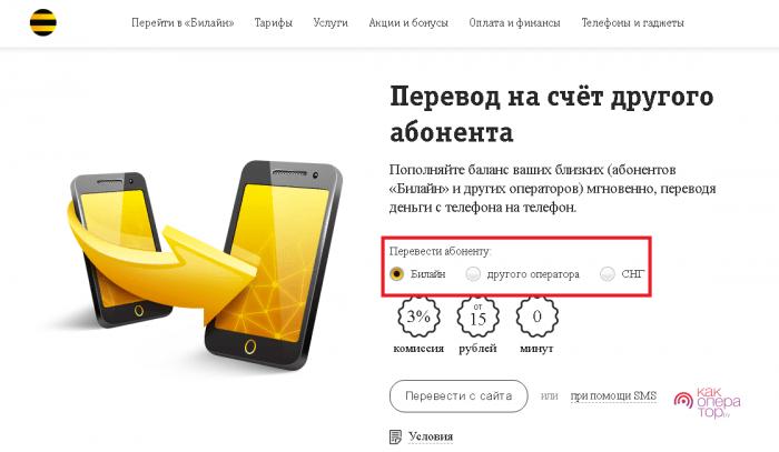 Перевод денег на мобильный счёт Билайн