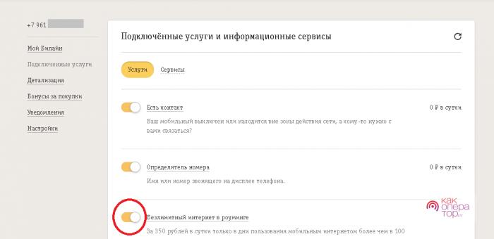 Деактивация интернет-услуг в ЛК
