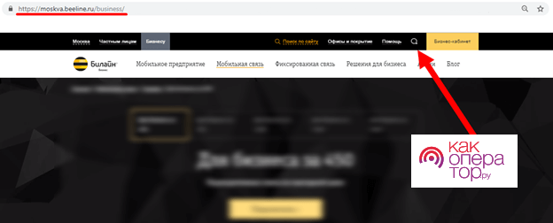Обращение в отдел для юр лиц Билайн через сайт