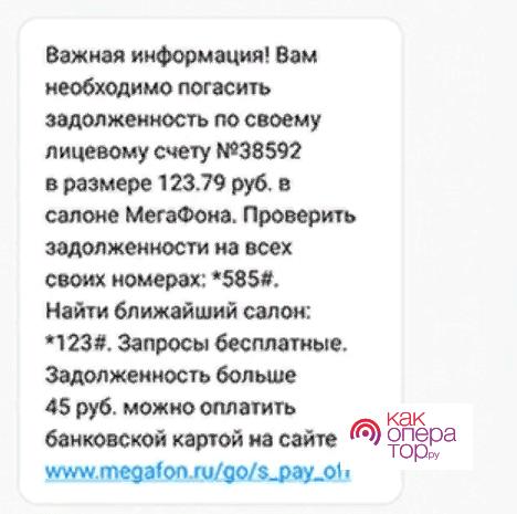 Пришла СМС от Мегафон Долг