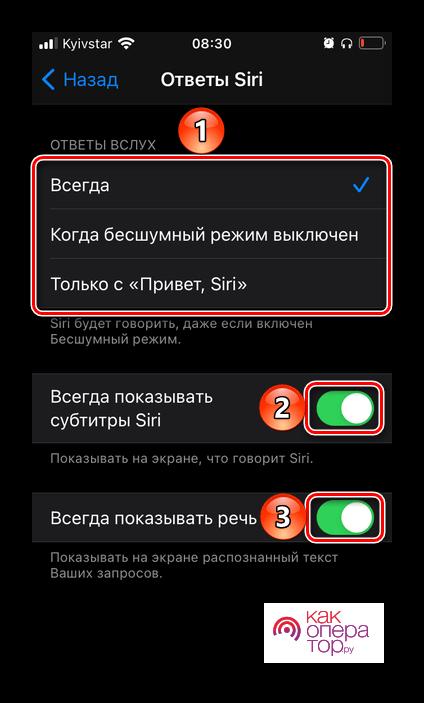 Настройка работы ответов голосового ассистента Siri в настройках iOS на iPhone