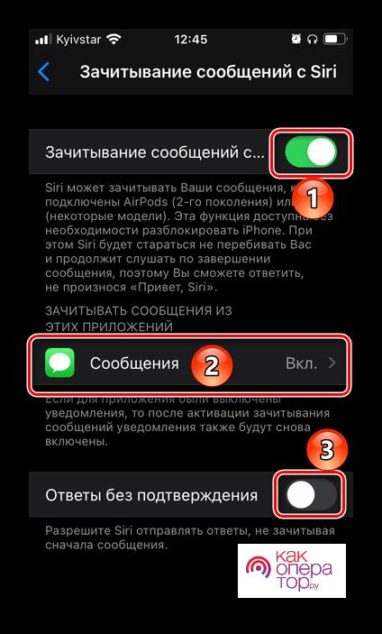 Настройка Зачитывания сообщений голосового ассистента Siri в настройках iOS на iPhone