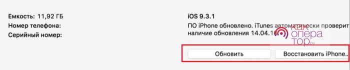 Восстановление с помощью iTunes