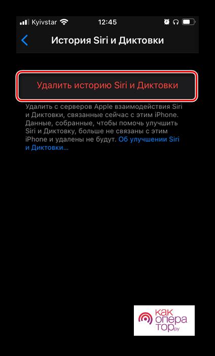 Удалить историю и диктовки голосового ассистента Siri в настройках iOS на iPhone