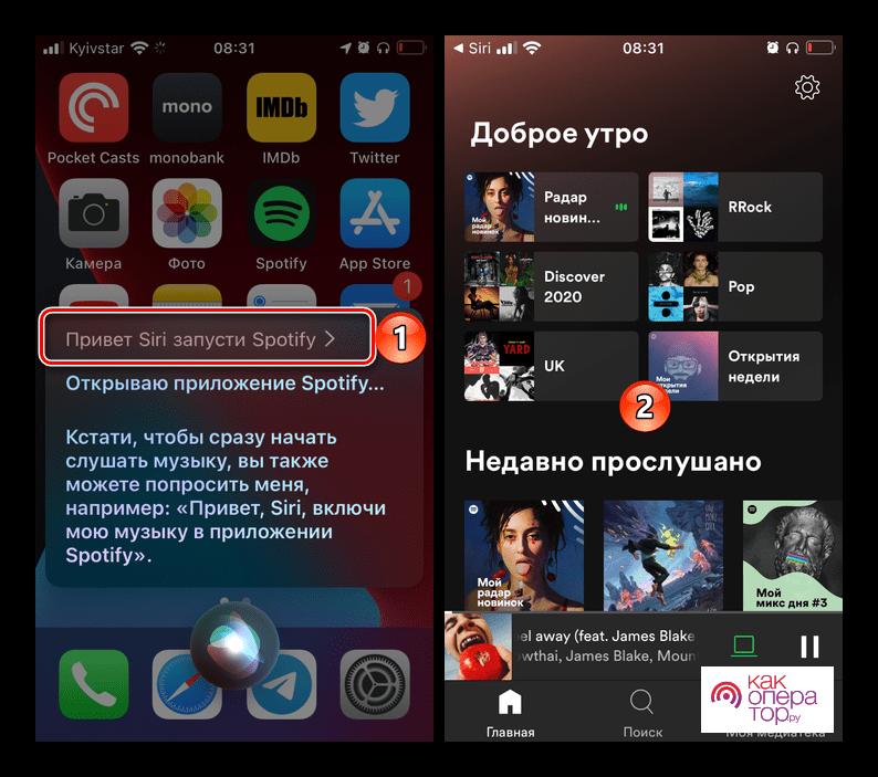Запуск приложения Spotify с помощью голосового ассистента Siri в настройках iOS на iPhone